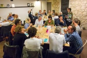 Repas de vernissage au Bistrot Sidoine de Saint Restitut.